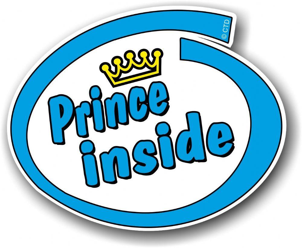 Cute car sticker designs - Cute Blue Prince Inside Slogan With Retro Style Novelty Design Vinyl Car Sticker Decal 105x85mm